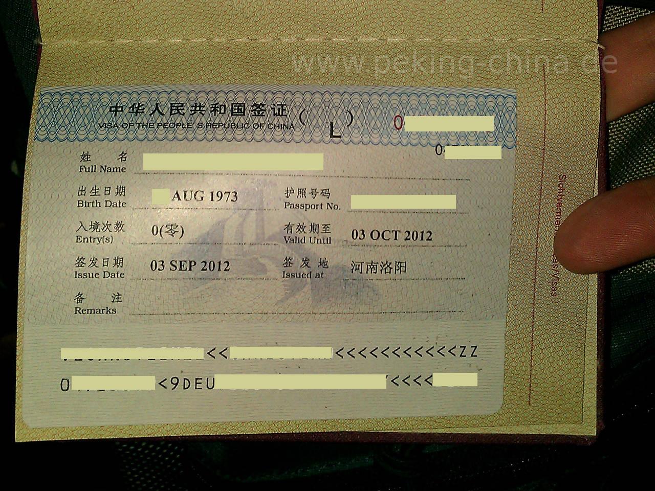 kosten visum china